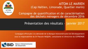 Resultats campagne caractérisation dec. 2016 AITOM Pascale Naquin